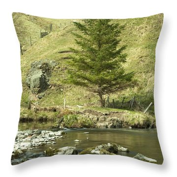 Throw Pillow featuring the photograph Northumberland, England A River Flowing by John Short