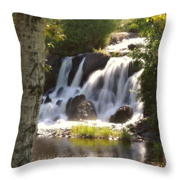 Northwoods Falls Throw Pillow by Marty Koch