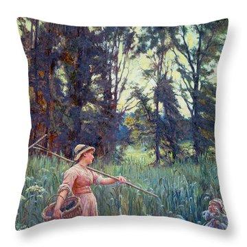 Not Far To Go Throw Pillow by Frederick Morgan