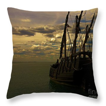 Notorious The Pirate Ship Throw Pillow by Blair Stuart