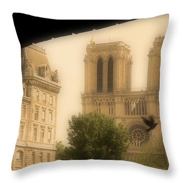 Notre Dame Cathedral Viewed Throw Pillow by John Sylvester
