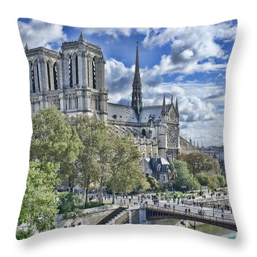 Throw Pillow featuring the photograph Notre Dame by Hugh Smith