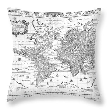 Nova Totius Terrarum Orbis Geographica Ac Hydrographica Tabula Throw Pillow by Dutch School