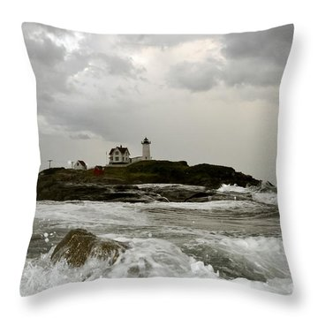Nubble Lighthouse In The Thick Throw Pillow by Rick Frost