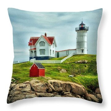 Nubble Lighthouse Throw Pillow by Tricia Marchlik