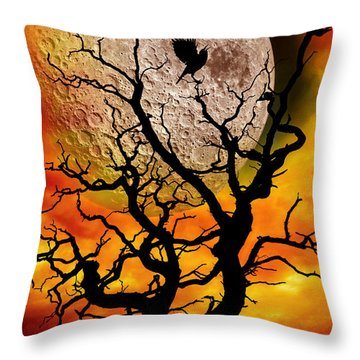 Nuclear Moonrise Throw Pillow by Meirion Matthias