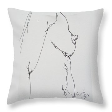 Nude Breast Study Throw Pillow by Rand Swift