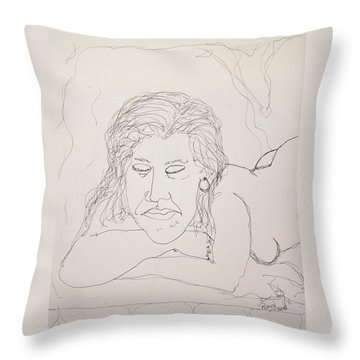 Nude Contour In Ink Throw Pillow