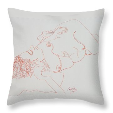 Nude Resting In Red Throw Pillow by Rand Swift