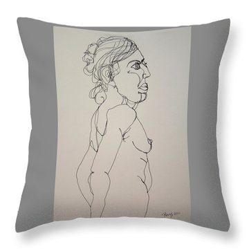 Nude Girl In Contour Throw Pillow by Rand Swift