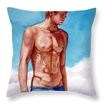 Nude Male Blonde In Blue Speedo Throw Pillow
