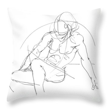 Nude-male-drawings-13 Throw Pillow