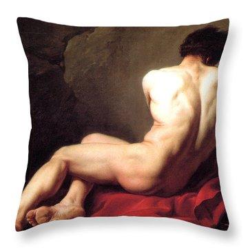 Nude Male Throw Pillow by Sumit Mehndiratta