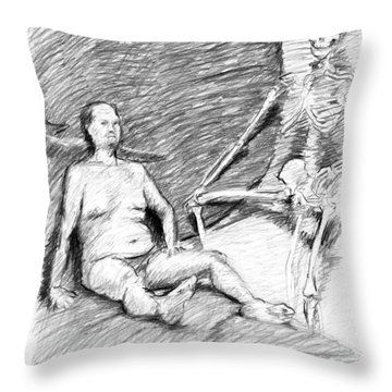 Nude Man With Skeleton Throw Pillow by Adam Long
