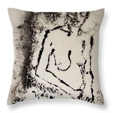 Throw Pillow featuring the painting Nude Young Female That Is Mysterious In A Whispy Atmospheric Hand Wringing Pose Monoprint Intaglio by M Zimmerman