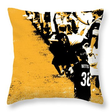 Number 1 Bettis Fan - Black And Gold Throw Pillow