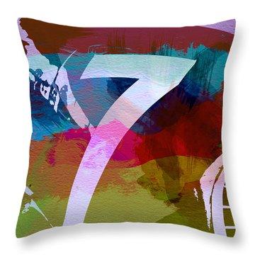 Number 7 Throw Pillow by Naxart Studio