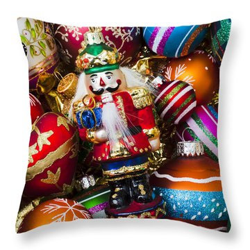 Nutcraker Ornament Throw Pillow by Garry Gay