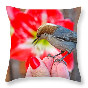 Nuthatch Bird Friend Throw Pillow