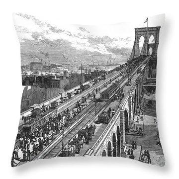 Ny: Brooklyn Bridge, 1883 Throw Pillow by Granger