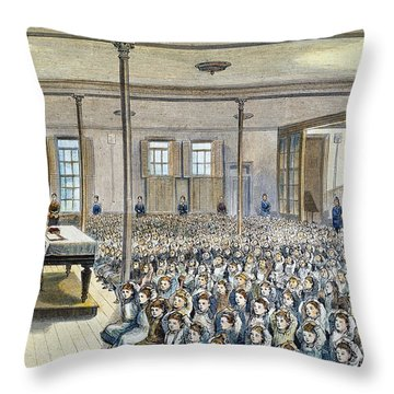 Nyc School Room, 1881 Throw Pillow by Granger