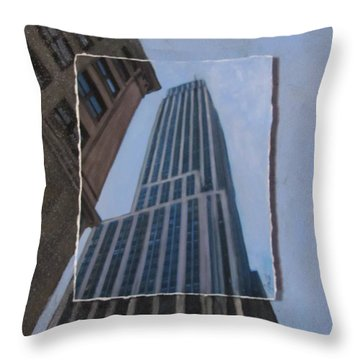 Nyc Severe Empire Layered Throw Pillow by Anita Burgermeister