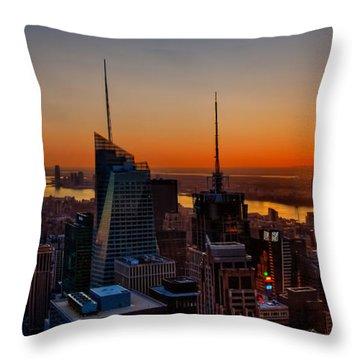 Nyc Sunset Throw Pillow