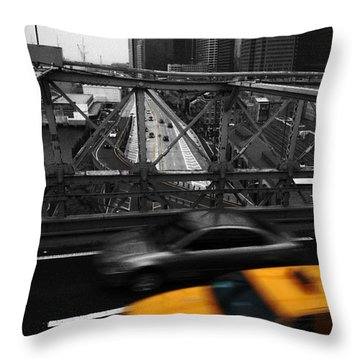 Nyc Yellow Cab Throw Pillow by Hannes Cmarits