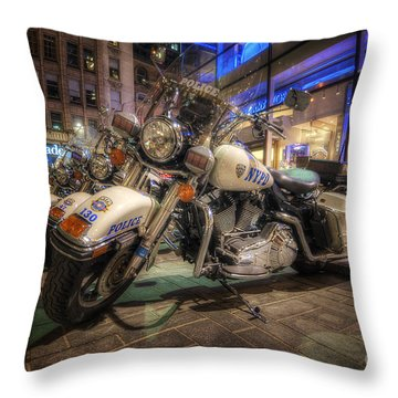 Nypd Bikes Throw Pillow