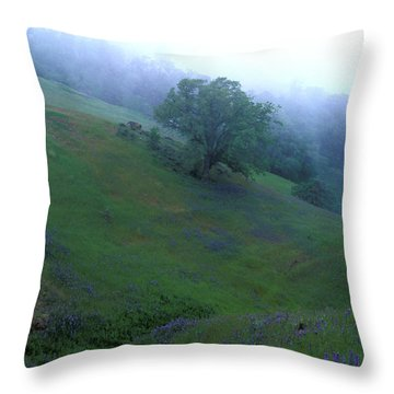 Oak With Lupine In Fog Throw Pillow by Kathy Yates