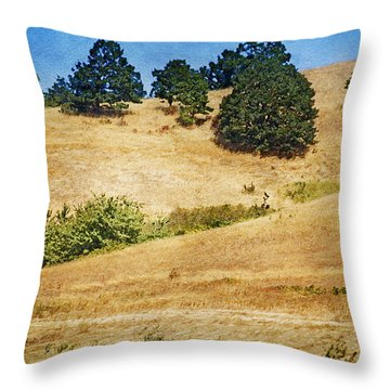 Oaks On Grassy Hill Throw Pillow by Bonnie Bruno