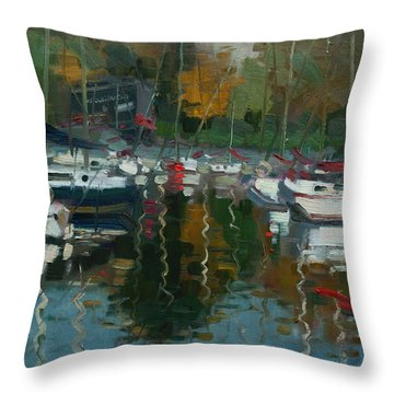 Oakville Harbour On Throw Pillow by Ylli Haruni
