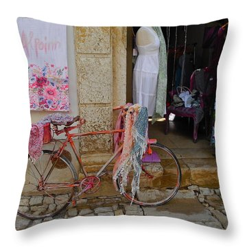 Obidos Portugal Street Scene Throw Pillow by Kirsten Giving