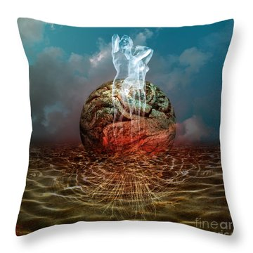 Throw Pillow featuring the digital art Oblivion Seed by Rosa Cobos