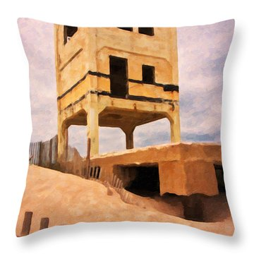 Ocean City Fishing Pier Remnants Throw Pillow by Betsy Knapp