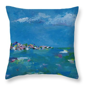 Throw Pillow featuring the painting Ocean Delight by Judith Rhue