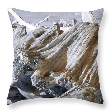 Ocean Driftwood Landscape Art Prints Coastal Views Throw Pillow by Baslee Troutman