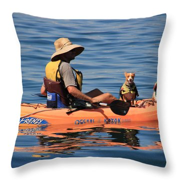 Ocean Kayaking Throw Pillow by Heidi Smith