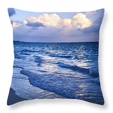 Ocean Waves On Beach At Dusk Throw Pillow by Elena Elisseeva
