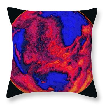 Throw Pillow featuring the digital art Oceans Of Fire by Alec Drake