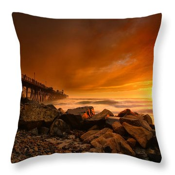 Oceanside Sunset 4 Throw Pillow by Larry Marshall