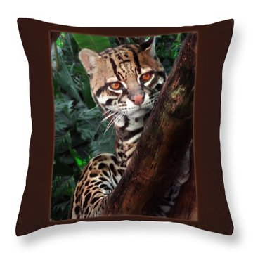Ocelot Lookout Throw Pillow