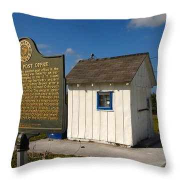 Ochopee Post Office Throw Pillow by David Lee Thompson