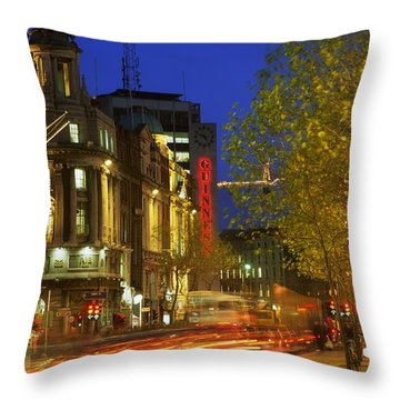 Oconnell Street Bridge, Dublin, Co Throw Pillow by The Irish Image Collection