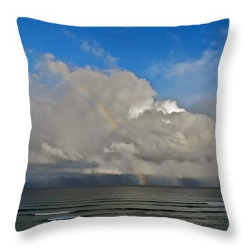 October Rainbow In Maui Throw Pillow by Kirsten Giving