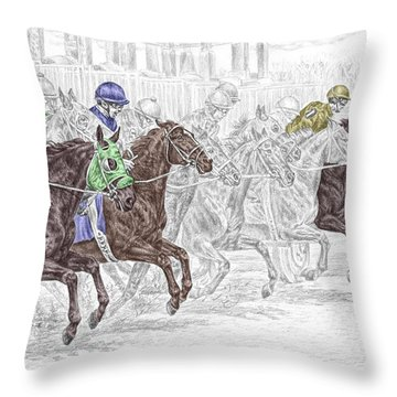 Odds Are - Tb Horse Racing Print Color Tinted Throw Pillow