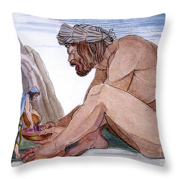 Odysseus & Cyclops Throw Pillow