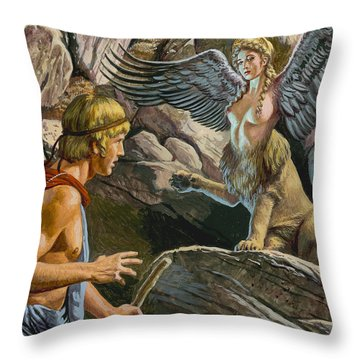 Oedipus Encountering The Sphinx Throw Pillow by Roger Payne