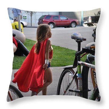 Off To Save The World- Back By Naptime Throw Pillow by Anjanette Douglas