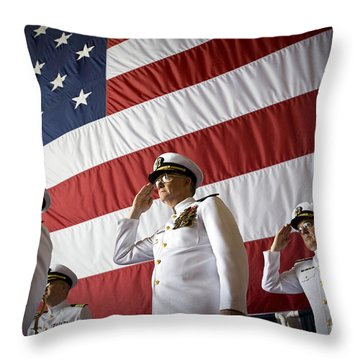 Officers Render Honors During A Change Throw Pillow by Stocktrek Images